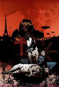 """Roman noir à saveur """"steampunk"""". Turbovapeur, manipulation génétique, dérives religieuses, violence xénophobe... Bienvenue à Québec, la mégapole au centre du monde."""